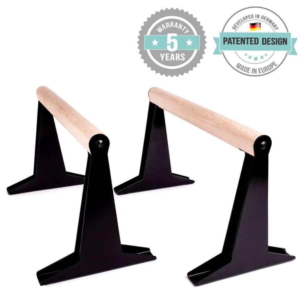Hochwertige Holz Parallettes mit ergonomischem Holzgriff und Blech Füßen, low & medium bei Pullup & Dip kaufen